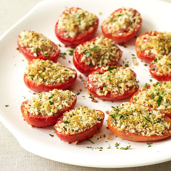 Oregano, garlic, Parmesan cheese and breadcrumbs give roasted tomatoes ...