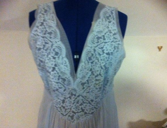 seventies Vintage ladies nightdress slip , pale duck egg blue with lace detailing at bust size large
