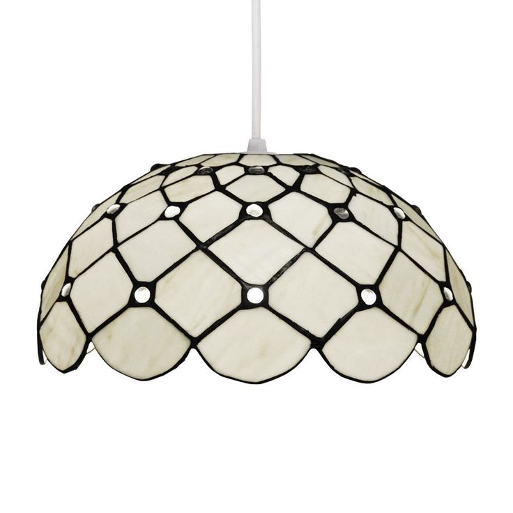 Traditional Round Cream White Stained Glass Ceiling