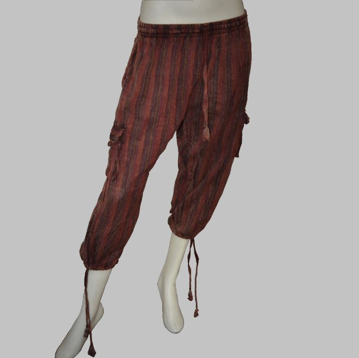 Striped Acid-Washed Three-Quarter Pants