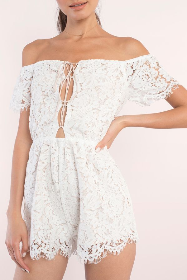 Get dolled up in the Julie Off Shoulder Lace Up Romper. Featuring an off the shoulder and lace up front. Pair with sandals and a bucket bag.  - Fast & Free Shipping For Orders over $50 - Free Returns within 30 days!