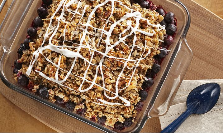 Recipe heroSimple Oat and Blueberry Crisp - Gluten Free.  Warm, juicy blueberries with a delicious crumbled topping.