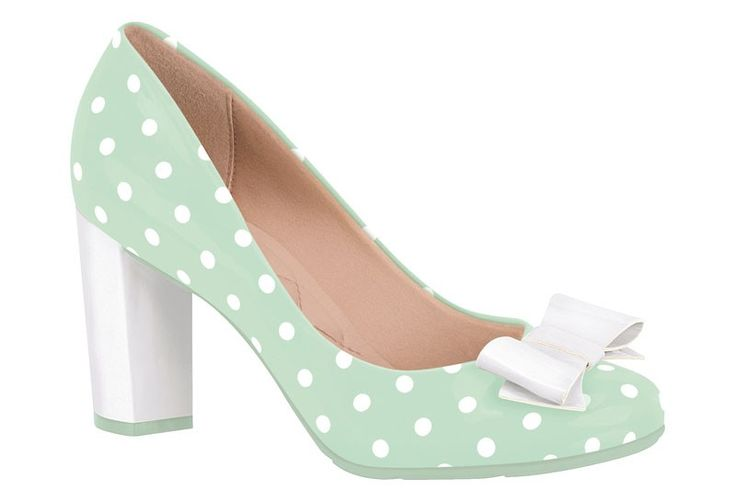 Gorgeous mint-green and white polka-dot, patent-finish pumps. $100