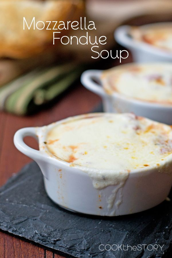 Mozzarella Fondue Soup - It's fondue meets cheesy goodness, all in a 15 minute soup!