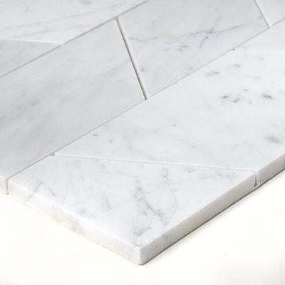 Itona Tile Harrison Random Sized Marble Mosaic Tile In Carrara