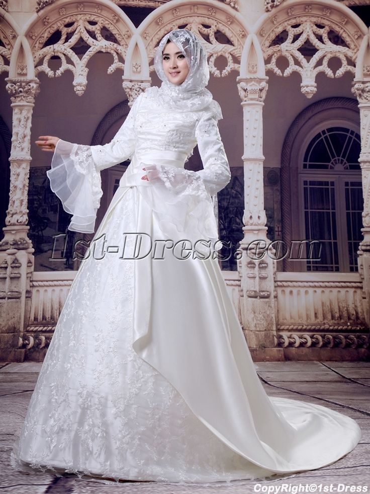 Ivory Hijab Wedding Dress with Trumpet Sleeves:1st-dress.com