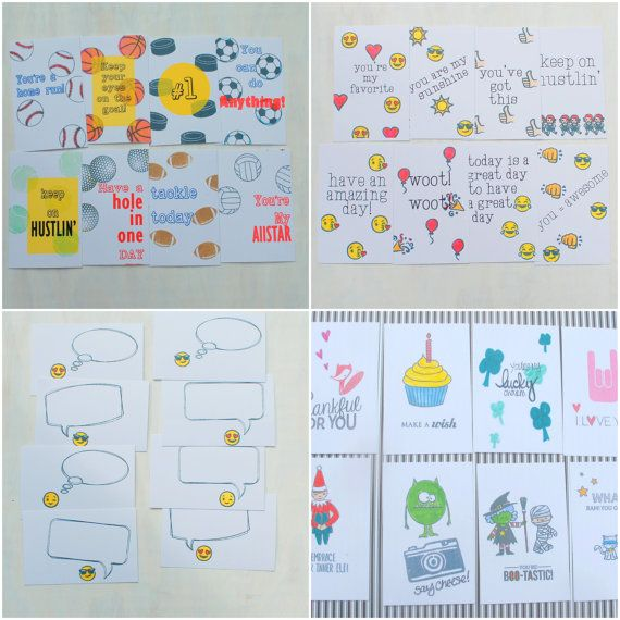 Printable Lunchbox Notes. Emoji Sports Inspiration, School Holidays - Back to School Lunch Box Note cards Mega Pack by Hot Wheels and Glue Guns