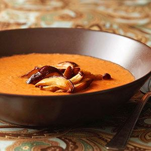 Shiitake Mushroom-Tomato Bisque This creamy, tomato-based soup mixture enhances the flavor of fresh shiitake mushrooms. If fresh mushrooms aren't available, soak dried ones in hot water.