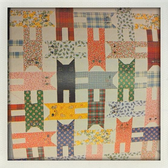 Cat quilt….remember these… Made lots of pillows with cats in the 80'..:0) | REPINNED