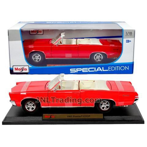 Maisto Special Edition Series 1:18 Scale Die Cast Car Set - Red Color Convertible Coupe 1965 PONTIAC GTO with Display Base