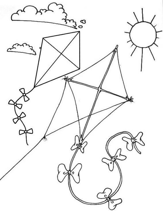 Sunny Flying Kite Themed Coloring Page For Kids in 2020