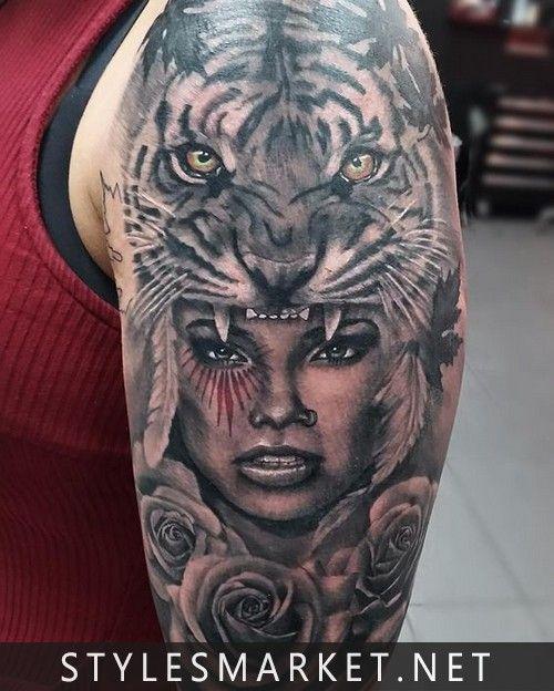 Tiger-tatoo-design-on-shoulder