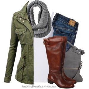 ☆ Army green jacket, Gray knit scarf & Knee boots