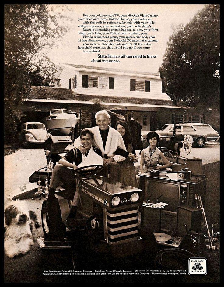 1970 statefarm insurance vintage print ad family