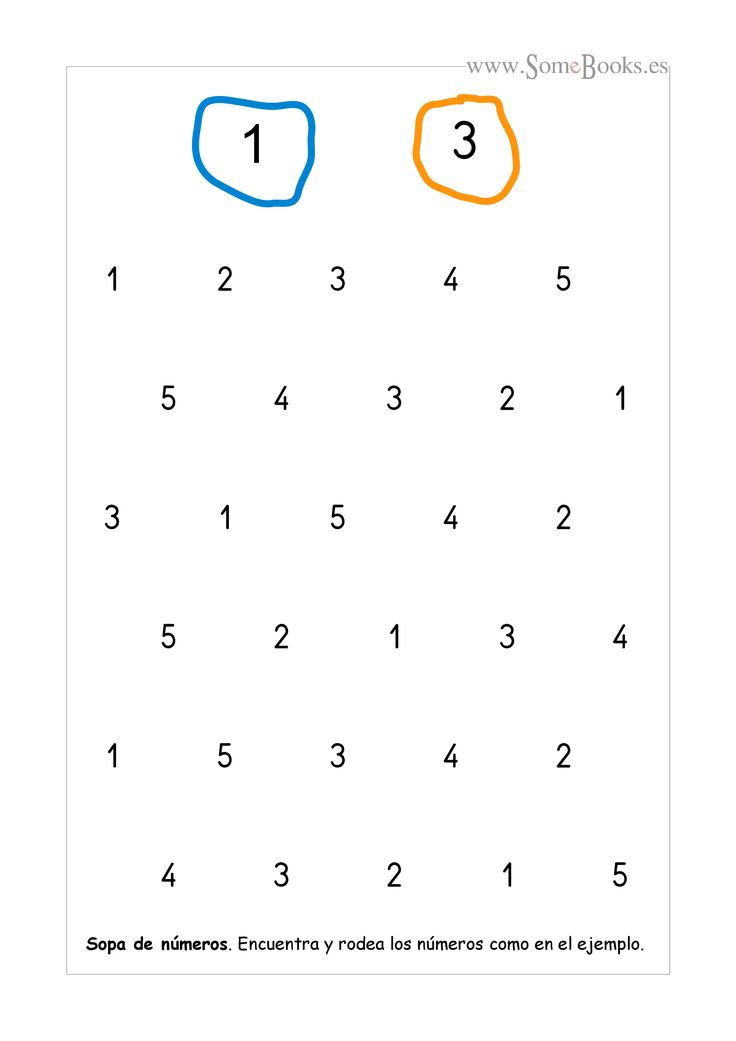 En estas fichas se ofrecen un par de números como modelo, que los niños tendrán que localizar y rodear, con el color adecuado, en la sopa de números que hay debajo. Si quieres descargar una...