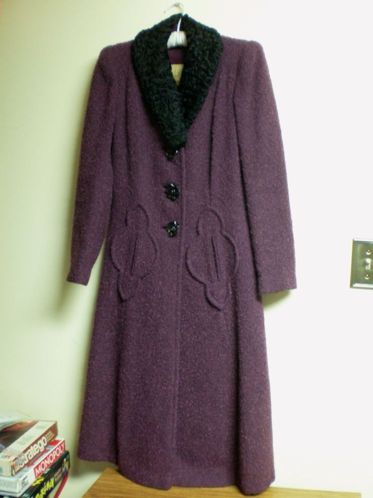 VINTAGE 1940s purple wool womens' heavy evening coat EISENBERG AND SONS ORIGINAL #EisenbergandSonsOriginal