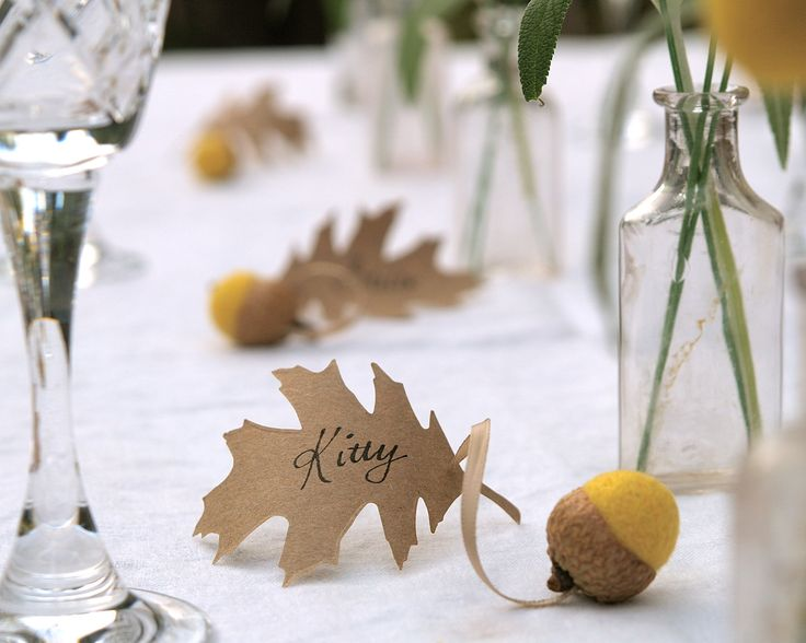 Wedding Place Cards, Yellow Spring Acorn and Oak Leaf Favors 10 Rustic Woodland Fairytale Classic Shabby Chic Country Theme Craspecia. $30.00, via Etsy.