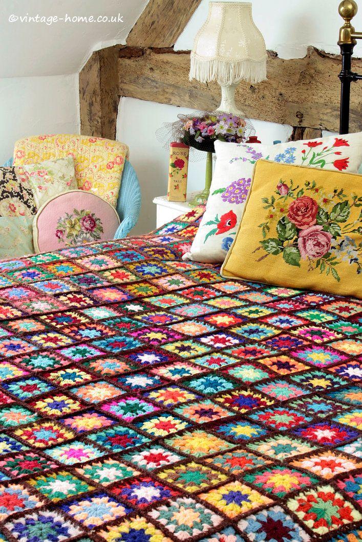 Vintage Home Shop - Here Comes Colour! Gorgeous Multi-Coloured Vintage Patchwork Crochet Throw: www.vintage-home.co.uk