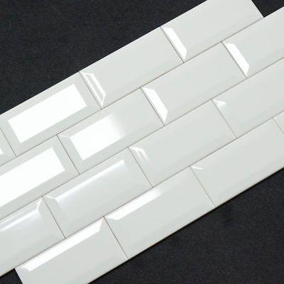 Maueroptik Facette Wand King Metro white weiß glänzend 7,5 x 15 Retro