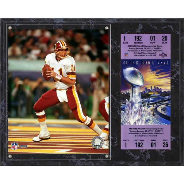 "Mark Rypien Washington Redskins Fanatics Authentic 12"" x 15"" Mark Rypien Super Bowl XXVI Plaque with Replica Ticket - $39.99"