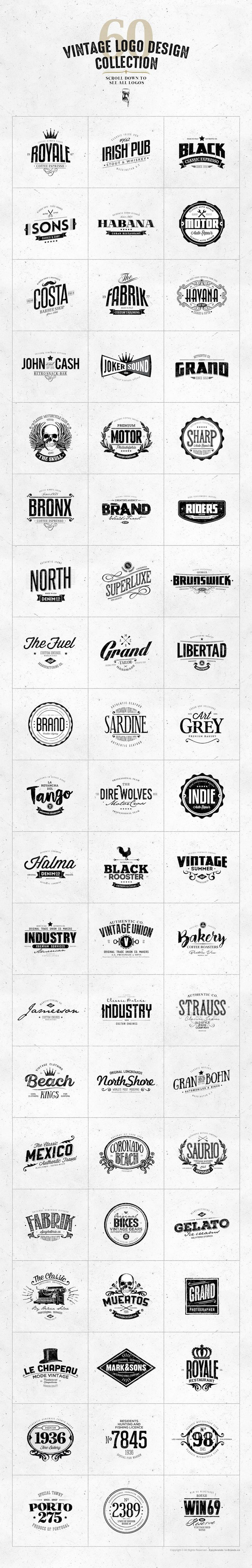 60 Vintage Logo Design Collection by Easybrandz on @creativemarket