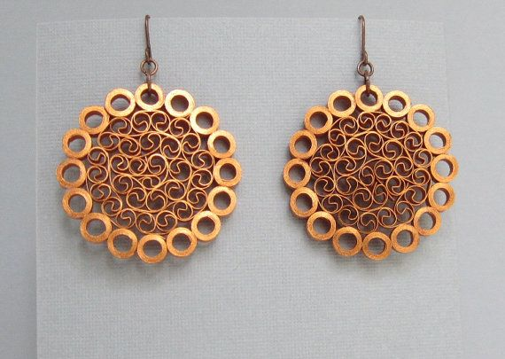 Quilling Earrings, Metallic Copper on Copper Paper:  Barbara, Barbara's Beautys, Gilbert, South Carolina, Etsy