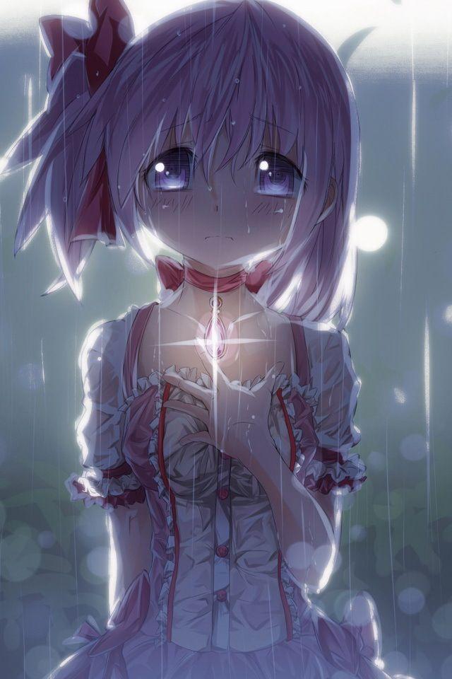 Fille manga sous la pluie