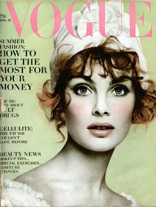 Jean Shrimpton on the cover of Vogue, 1960s.