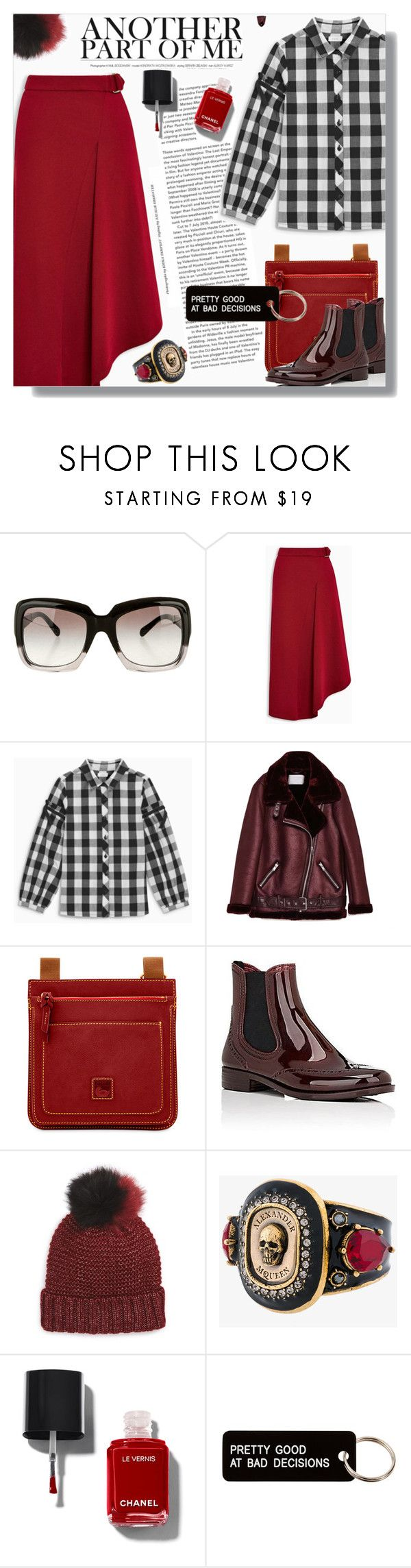 """""""Red & ..."""" by cilita-d ❤ liked on Polyvore featuring Chanel, Dooney & Bourke, Barneys New York, NYC Underground, Alexander McQueen, Various Projects, red, Boots, plaid and asymmetricskirt"""