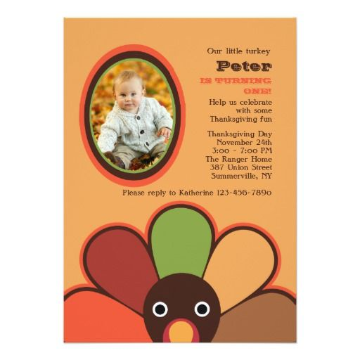 164 best thanksgiving birthday invitations images on pinterest our little turkey photo invitation stopboris Image collections