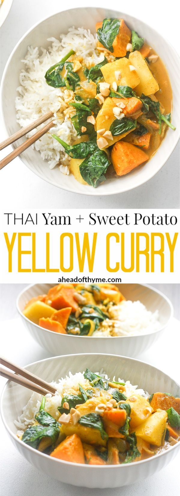 Thai Yam and Sweet Potato Yellow Creamy: Ready in under 30 minutes, try this delicious and creamy vegetarian Thai yam and sweet potato yellow curry tonight. | aheadofthyme.com