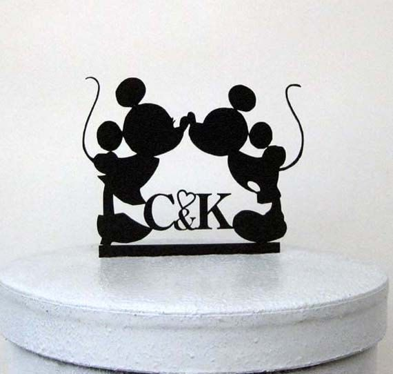 personalized wedding cake topper mickey and minnie wedding silhouette with your initials and a red heart