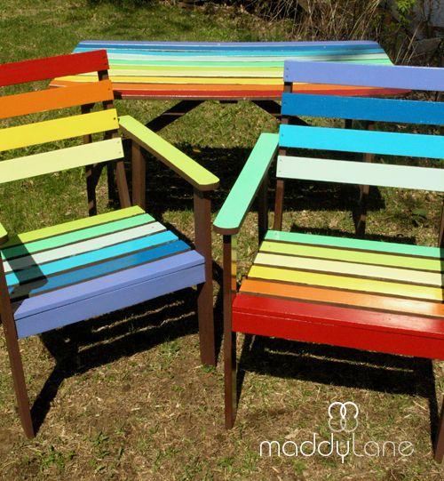 Compainted Outdoor Furniture : Rainbow garden furniture  Painted garden furniture  Pinterest