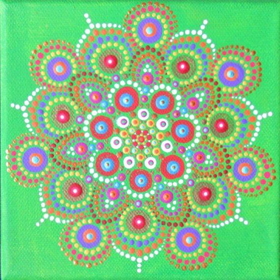Mini schilderen op doek, mandala ontwerp, dot schilderij groen paars, 6 x 6 inch klaar om op te hangen artwork, boho kunst aan de muur, hand geschilderd