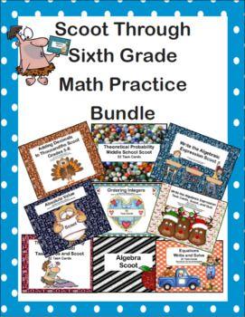 Scoot Through Sixth Grade Math Practice Bundle Linda Mccormick