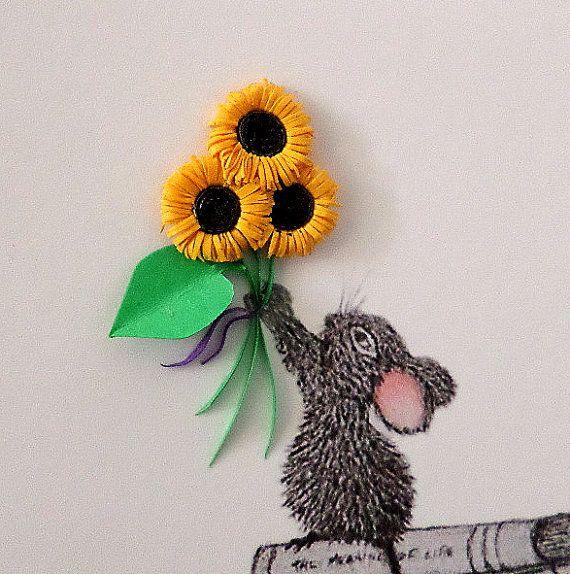 Great Dane, with Baby Mouse and Sunflowers.  Taken from my pencil drawing o #babyshower #etsyshopuk #nurserydecor #babyanimals #newbabygift