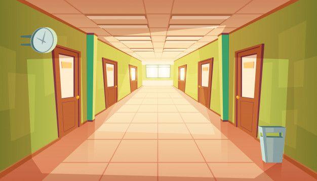 Download Cartoon School Hallway With Window And Many Doors For