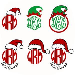 Santa and Elf Hat to Place atop your Round Circle Frame Monogram Cuttable Design Cut File. Vector, Clipart, Digital Scrapbooking Download, Available in JPEG, PDF, EPS, DXF and SVG. Works with Cricut, Design Space, Sure Cuts A Lot, Make the Cut!, Inkscape, CorelDraw, Adobe Illustrator, Silhouette Cameo, Brother ScanNCut and other compatible software. Bring your Jolly Old Elf's Spirit to your Xmas Projects.