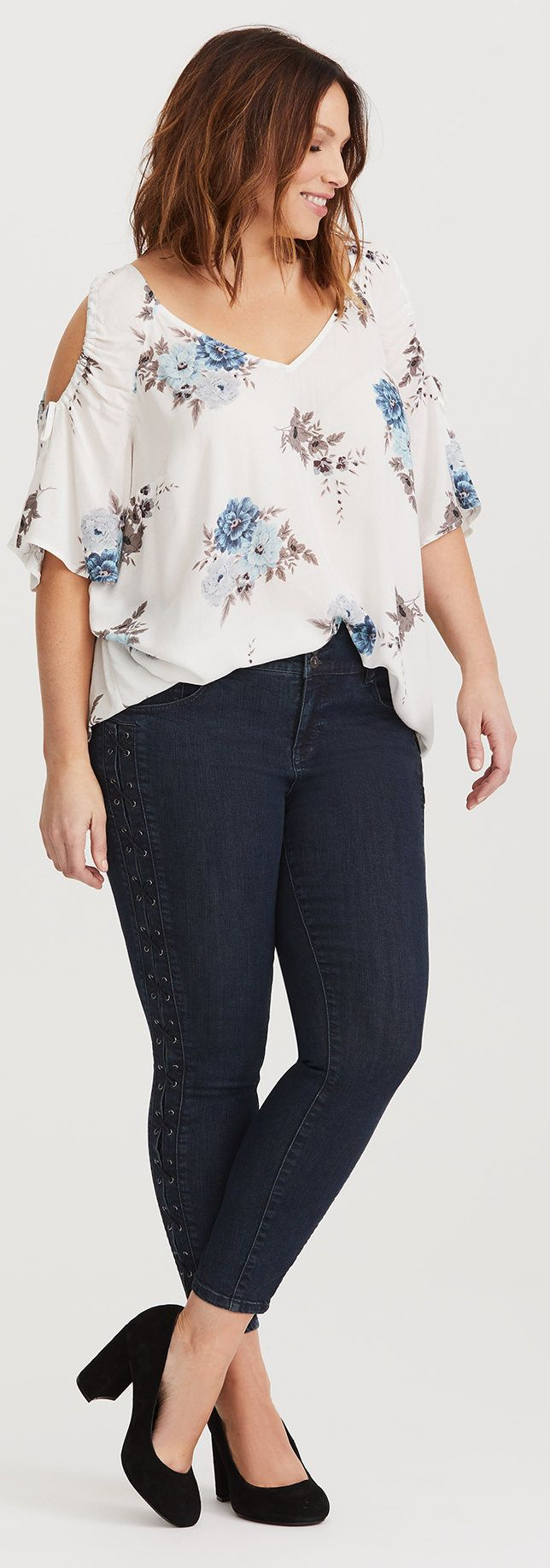 Jeggings - Medium Wash with Lace-Up Sides Plus Size