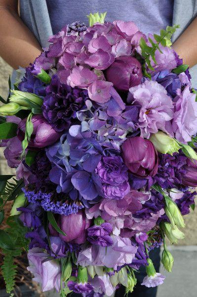 Purple Bouquet Hydrangea Tulip Wedding Flowers Photos & Pictures - WeddingWire.com