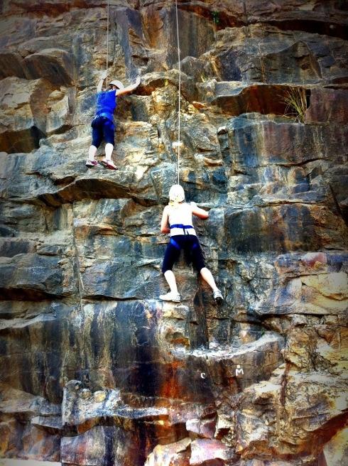 Rock climbing at the Kangaroo Point cliffs. Brisbane, Australia.