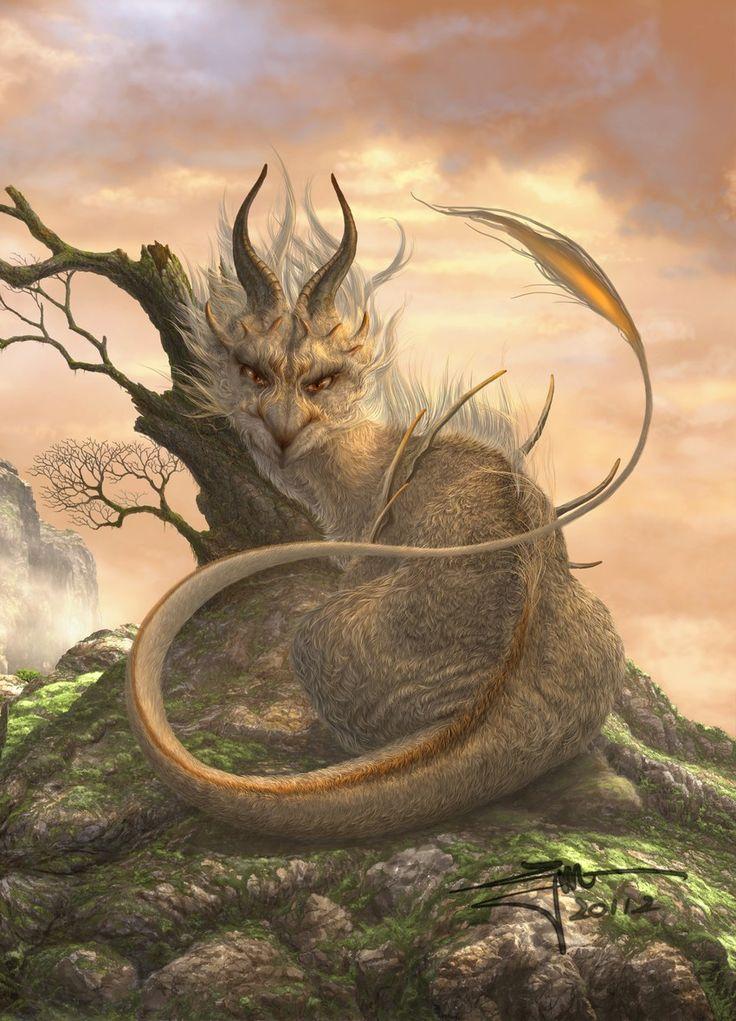 White Earth Elemental Dragon (original drawn by ucchiey - Danbooru) Interesting feline face.