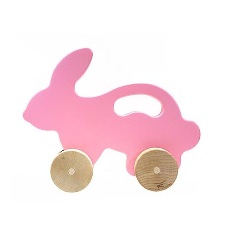 Manny + Simon - Wooden Push Toy - Bunny pink