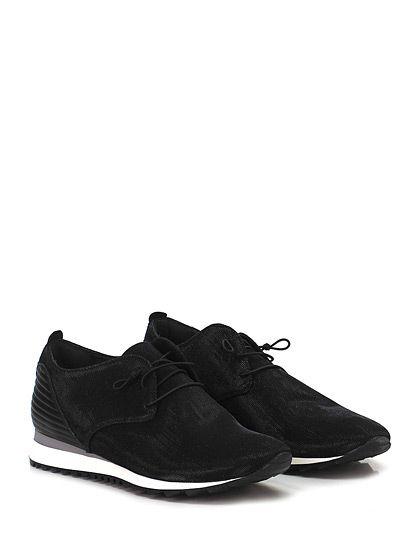 Donna Carolina - Sneakers - Donna - Sneaker in tessuto lurex e pelle laminata su retro con lacci elasticizzati e suola in gomma. Tacco 30, platform 15 con battuta 15. - NERO - € 139.00