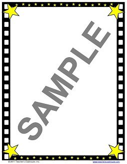 free Hollywood Border Clip Art | hollywood filmstrip ...