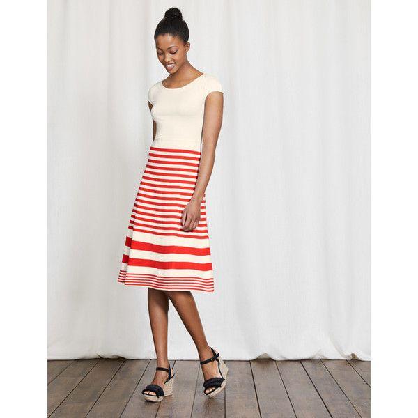Boden Harriet Knitted Dress ($210) ❤ liked on Polyvore featuring dresses, boden dresses, striped fit and flare dress, bateau neckline dress, boatneck dress and boat neck fit and flare dress