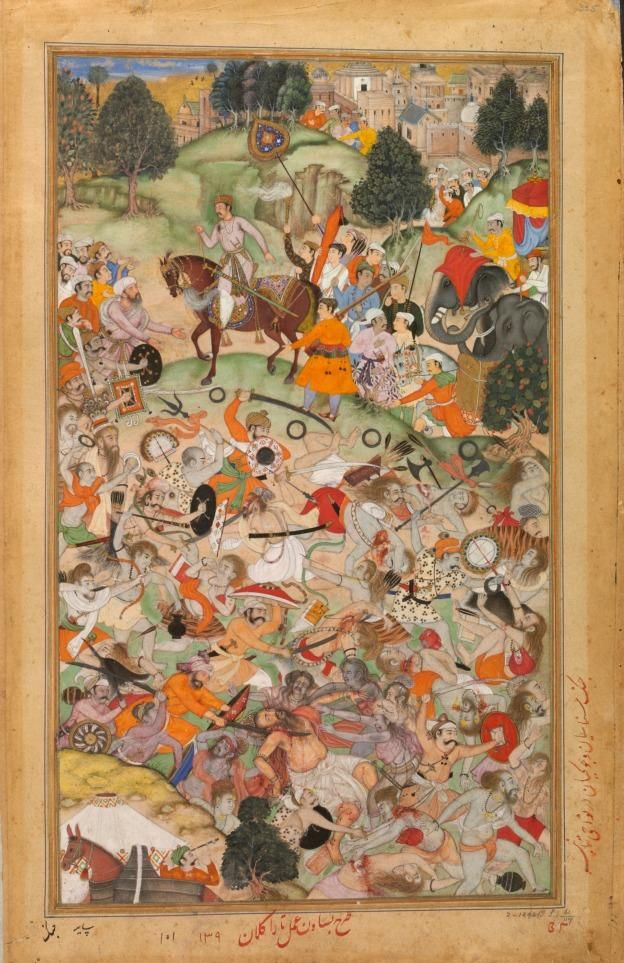 From the Akbarnama, composed by Basawan and painted by Asi India, Mughal dynasty, ca. 1590-5; Opaque watercolor, gold and ink on paper, 38.1 x 22.4 cm Victoria and Albert Museum