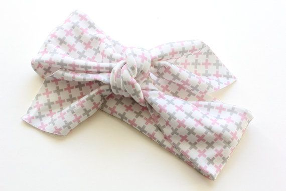 Organic Cotton Headband  Crosses Pink and Grey  Organic by raenne, $12.00