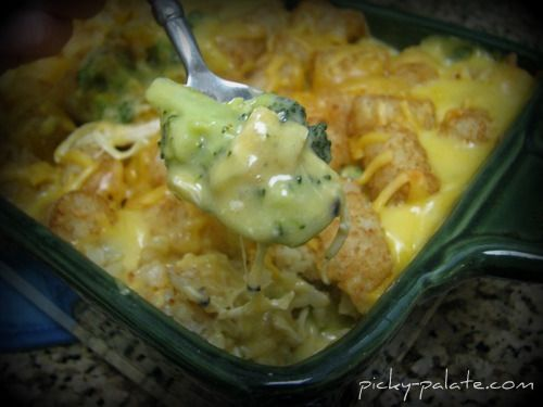Tuesday Tummy Tamer | Broccoli, Cheddar, Chicken and Tater Tot Casserole |