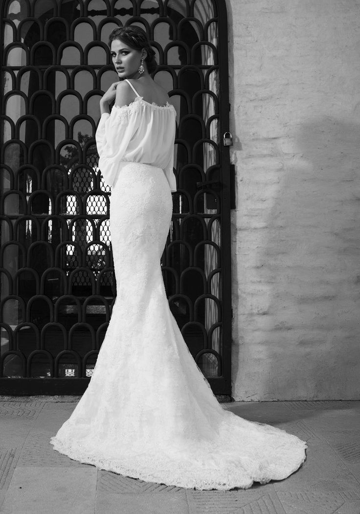 2016 mermaid wedding dress with cut-out shoulder and veil top.  See more of Sun Addicted at our website www.biensavvy.eu or book an appointment for a showroom fitting at office@biensavvy.eu